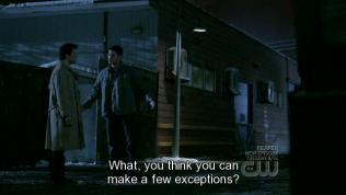 """Tập này tên là """"Cái chết cũng có ngày nghỉ"""", nơi một thị trấn mà không có ai chết trong 10 ngày liền, bởi vì các thần chết bị truy sát. Vậy nên có những người tốt bị giết, lẽ ra đã chết nhưng lại không chết. Thế mà bây giờ họ đã giải quyết xong vấn đề nên mọi thứ phải trở lại như cũ, tức là những người kia phải chết. Dean cảm thấy bất mãn và hỏi Cas không thể làm vài ngoại lệ cho họ sao? Họ là người tốt mà. Nhưng Cas không đồng ý."""