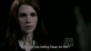 """Và bùm, chị Anna, người tình một đêm của Dean xuất hiện, hỏi Cas, """"Tại sao cậu lại để Dean làm việc này?"""""""