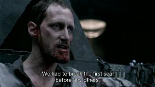 """Alastair lại biết cái bản chất M của Dean, vậy nên lúc này, hắn lôi vết thương cũ của Dean ra để đâm lại. Hắn nói chính Dean đã phá vỡ phong ấn đầu tiên của 66 phong ấn bằng việc đồng ý trở thành người tra tấn. Hắn nhấn mạnh, """"Chúng ta phải phá vỡ phong ấn đầu tiên để có thể phá vỡ bất kỳ cái nào khác."""""""