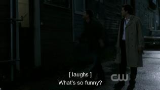 """""""Có gì vui vậy?"""" Cas hỏi."""