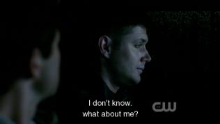 """""""Tôi thì sao á? Tôi cũng chẳng biết nữa."""" - Dean trả lời. (Hiện giờ Dean đang tách ra với Sam bởi vì anh vẫn chưa thể tha thứ cho Sam vì chuyện lần trước)"""