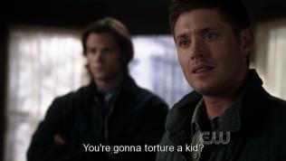 Sau đó thì bọn họ tìm đến một đứa bé để hỏi về tung tích thiên thần đã lấy cắp cây gậy của Moses, và Cas muốn dùng một phương pháp gây đau đớn cho đứa bé để moi thông tin, Dean không đồng ý.