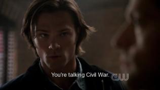 """""""Ý của anh là nội chiến?"""" Sam hỏi. Và đúng thật là trên thiên đường đang có chiến tranh giữa các thiên thần, phe của Cas và phe của Rap."""
