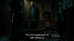 """Cas trả lời, tiếp thu bài học của Dean, """"Tôi không nên nói về nó."""" (Cas, anh cũng quá thật thà =))))"""
