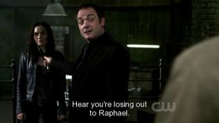 """""""Nghe nói là cậu đang thua Raphael."""" Crowley châm chọc Cas."""