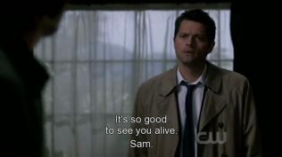 """""""Thật tốt được thấy cậu vẫn còn sống, Sam."""" Cas xuất hiện."""