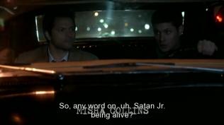 """Dean hỏi Cas, """"Vậy có tin gì mới về việc Satan đời thứ hai còn sống không?"""""""