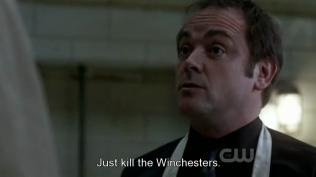 """Trở về với thực tại, Crowley đề nghị, """"Phải giết hai thằng Winchester đi."""""""