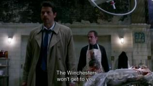 """Cas trấn an, """"Hai anh em Winchester sẽ không đến được chỗ của người. Cứ làm việc của ngươi đi."""" Sau đó xoay người bỏ đi."""