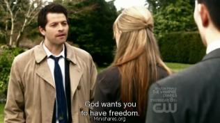 """""""Chúa muốn chúng ta được tự do."""" Cas khi ấy mỉm người, và sau này nhìn lại, """"Tự do là một sợi dây Chúa đưa cho chúng ta để treo cổ."""" Cas đã nhận xét như thế."""