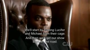 """Rap tuyên bố, """"Chúng ta sẽ bắt đầu từ việc giải thoát Lucifer và Michael khỏi cái lồng, và show diễn của chúng ta lại có thể bắt đầu."""""""