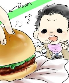 Dean!! Hamburger của bé Cas mà!!!
