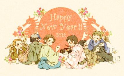 Mừng năm mới ~~ Cas bị chuốc say, dựa hẳn vào Dean rồi =)))